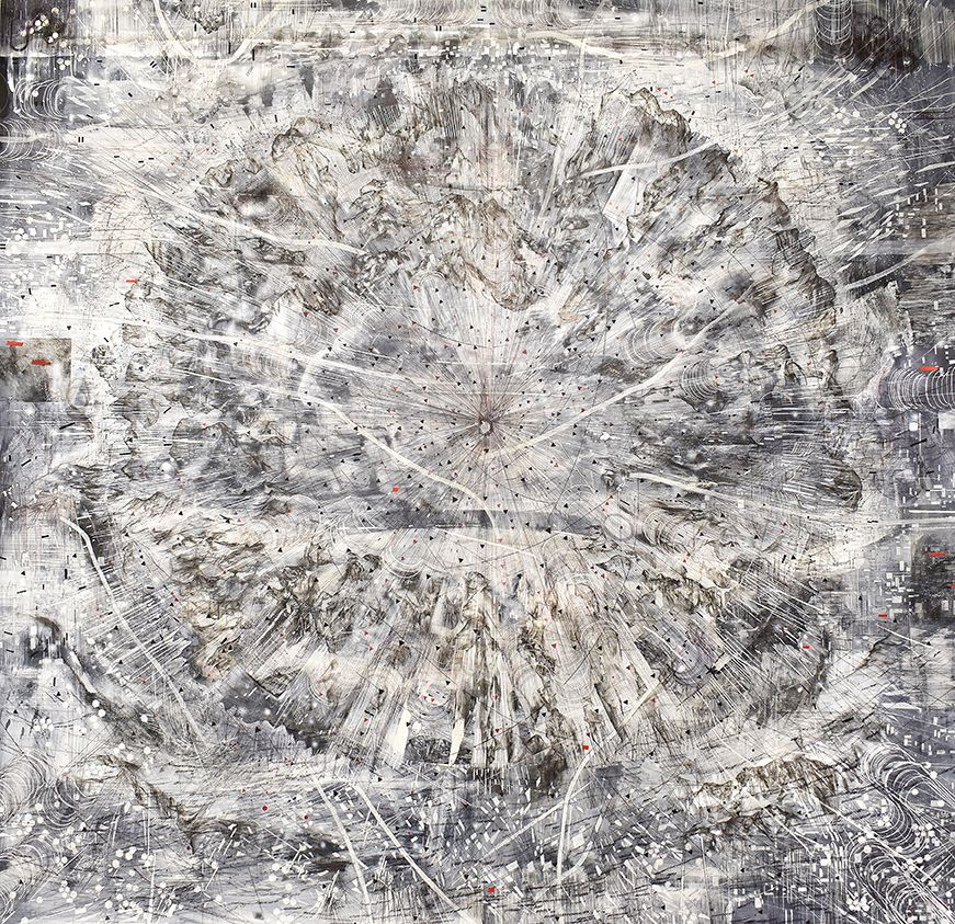 AMY SCHISSEL   INDICATOR   ACRYLIC, GRAPHITE, CHARCOAL AND INK ON PAPER   98 X 98 INCHES   2020