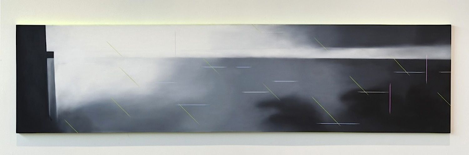 JANET JONES   NOWHERE EVERYWHERE #2  OIL AND ACRYLIC ON CANVAS   30 X 120 INCHES   2004