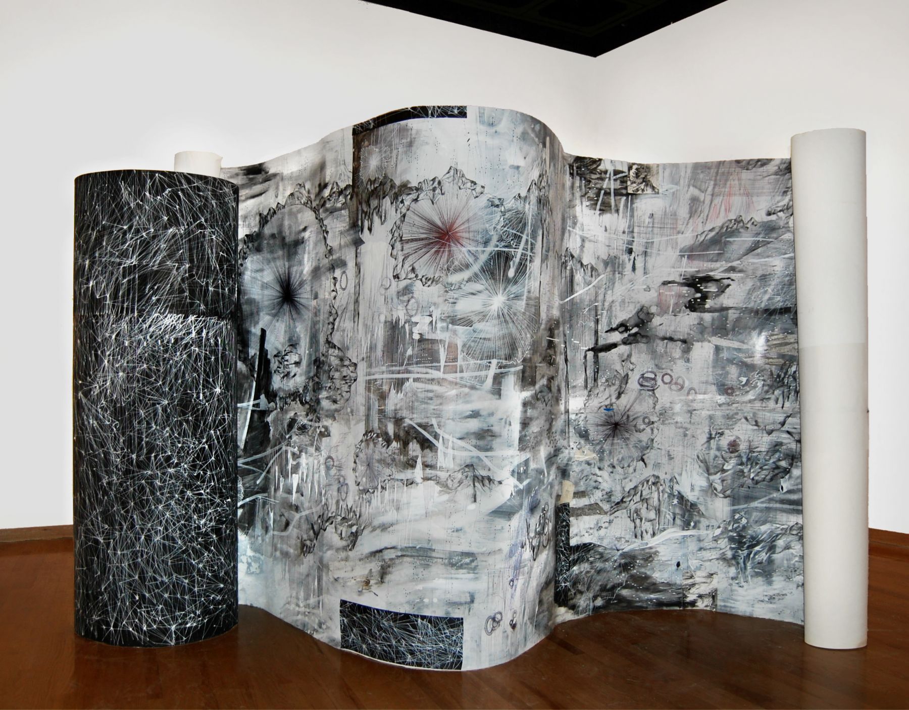 AMY SCHISSEL   DOUBLE STANDARD  PAINTING, ACRYLIC, OIL, GESSO, GRAPHITE, INK ON PAPER  42X 9FEET   2016