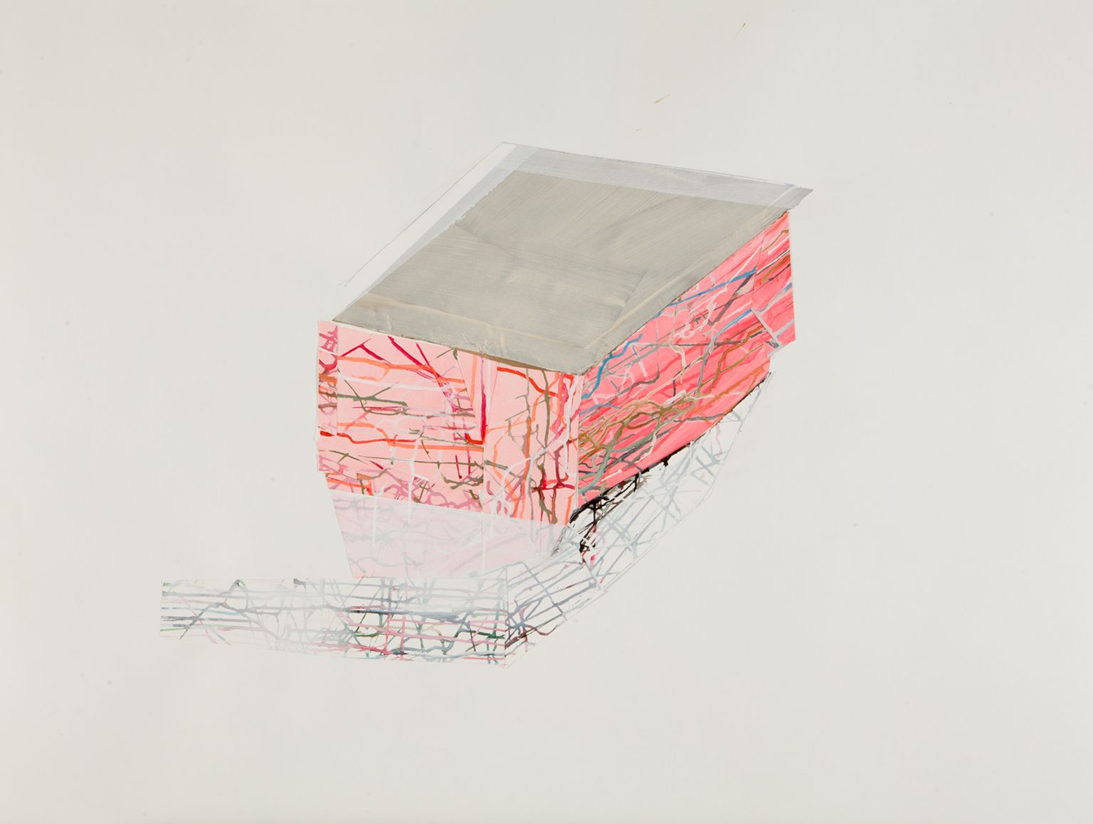 ANTONIETTA GRASSI   HOUSE FLOAT NO.1  ACRYLIC AND COLLAGEON PAPER   30X 40INCHES   2014