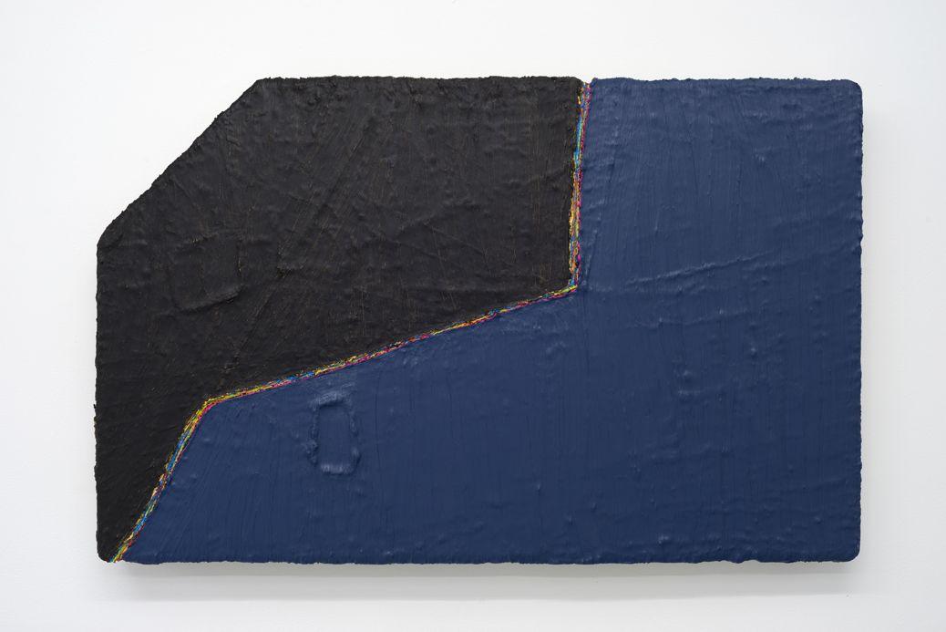 PAUL BUREAU   OUT OF SHAPE (BLACK/BLUE)  OIL PAINT AND OIL PASTEL ON CANVAS   26X 41INCHES   2014