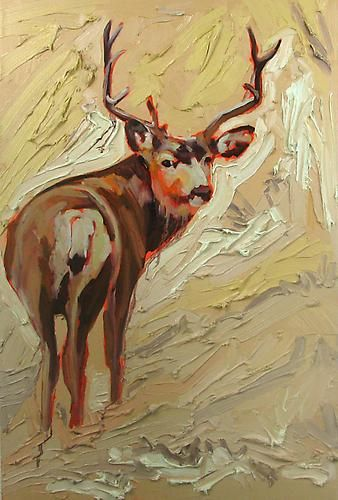 JAMES OLLEY | DEER | OIL, ACRYLIC, PENCIL CRAYON ON CANVAS | 36 24 INCHES | 2010