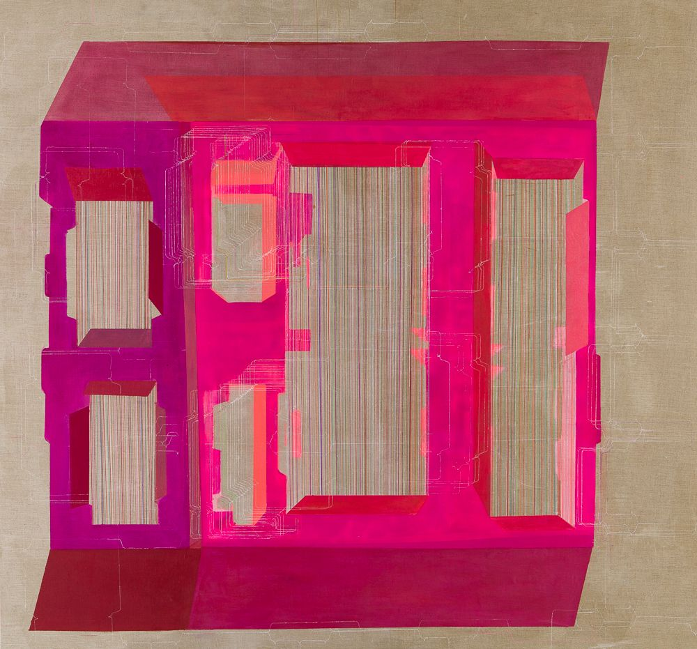ANTONIETTA GRASSI   LIMINAL SPACES   ACRYLIC AND INK ON LINEN   84 X 78 INCHES   2018