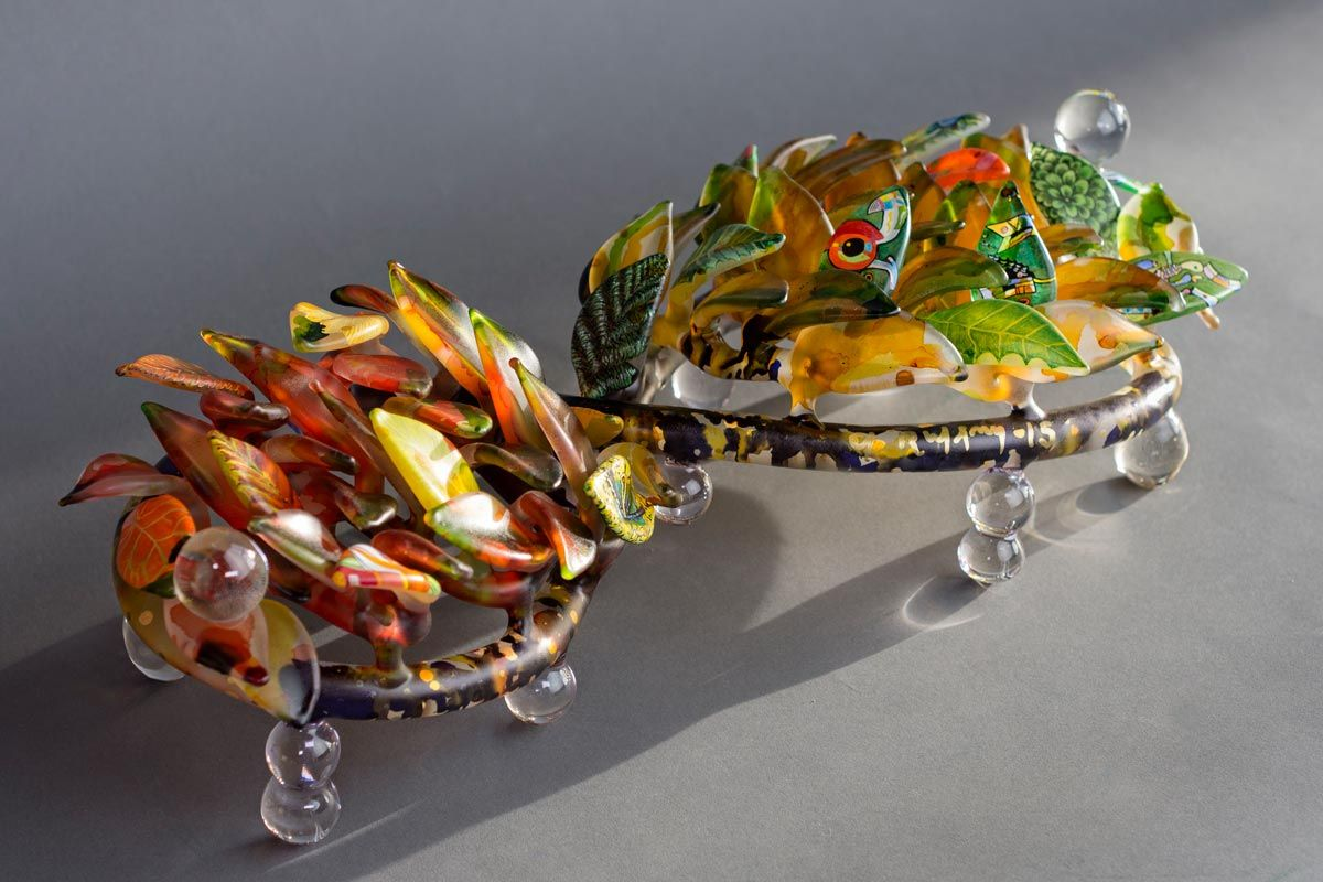 Ginny Ruffners painted glass sculpture