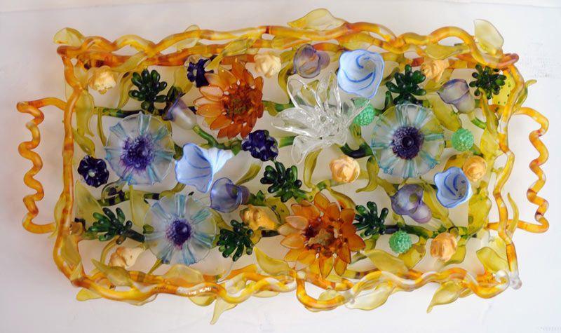 Ginny Ruffners My Favorite Breakfast, glass tray of flowers