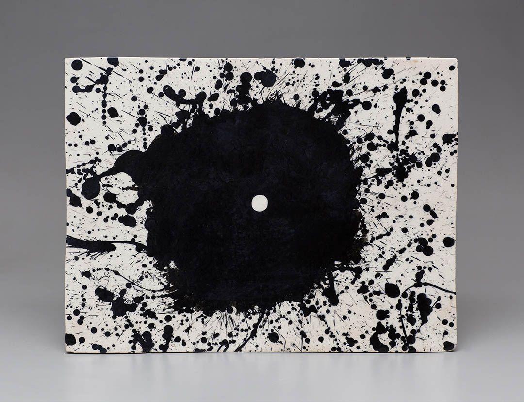 Jun Kaneko wall slab with black splatter