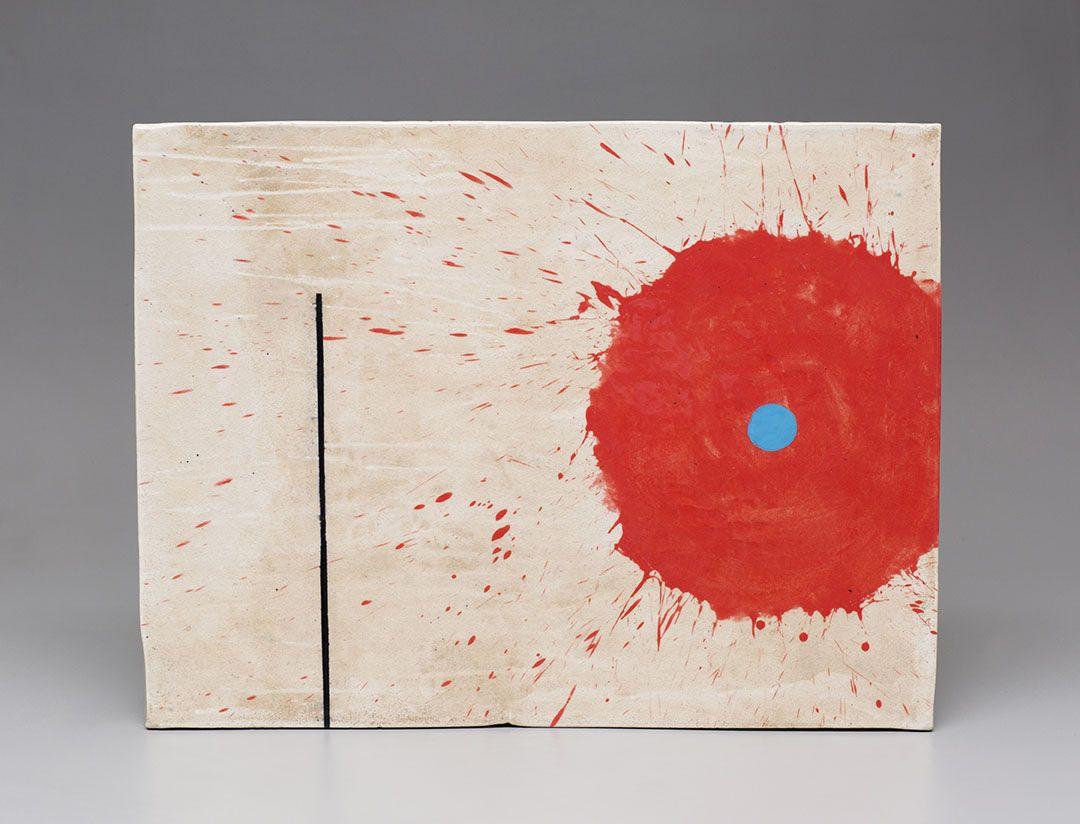 Jun Kaneko Untitled ceramic wall slab with red flower