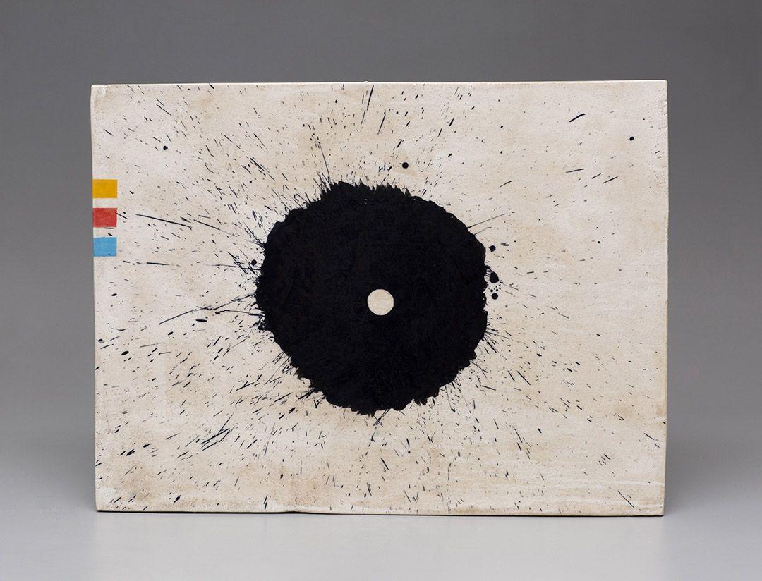 Jun Kaneko Untitled Wall Slab with black splatter