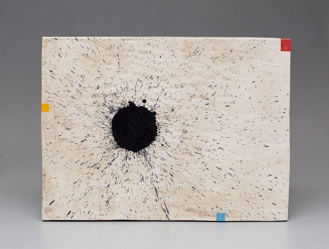 Jun Kaneko's Untitled Wall Slab with black splatter