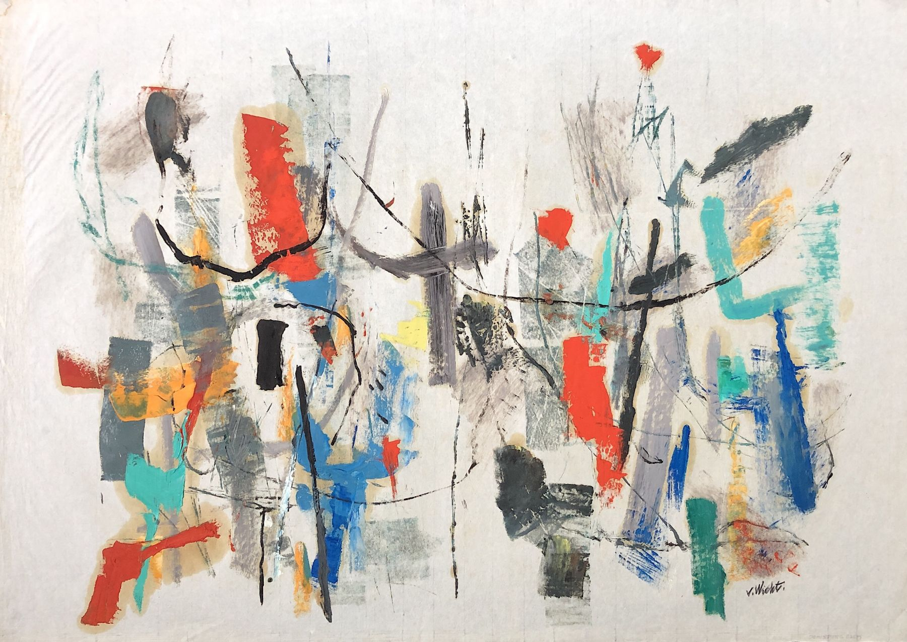 Sold untitled mixed media painting by John Von Wicht