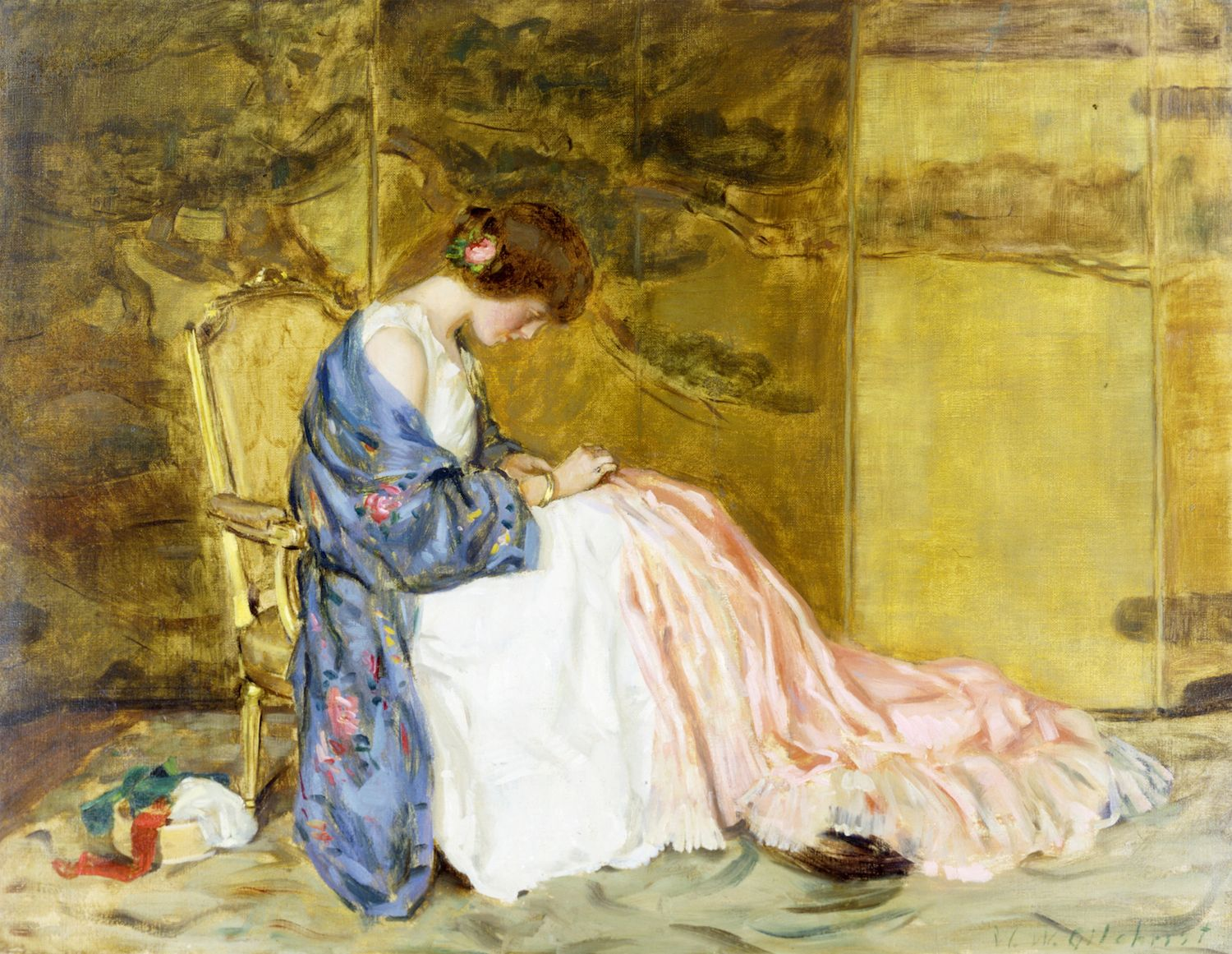 William Wallace Gilchrist, Sewing a Party Dress