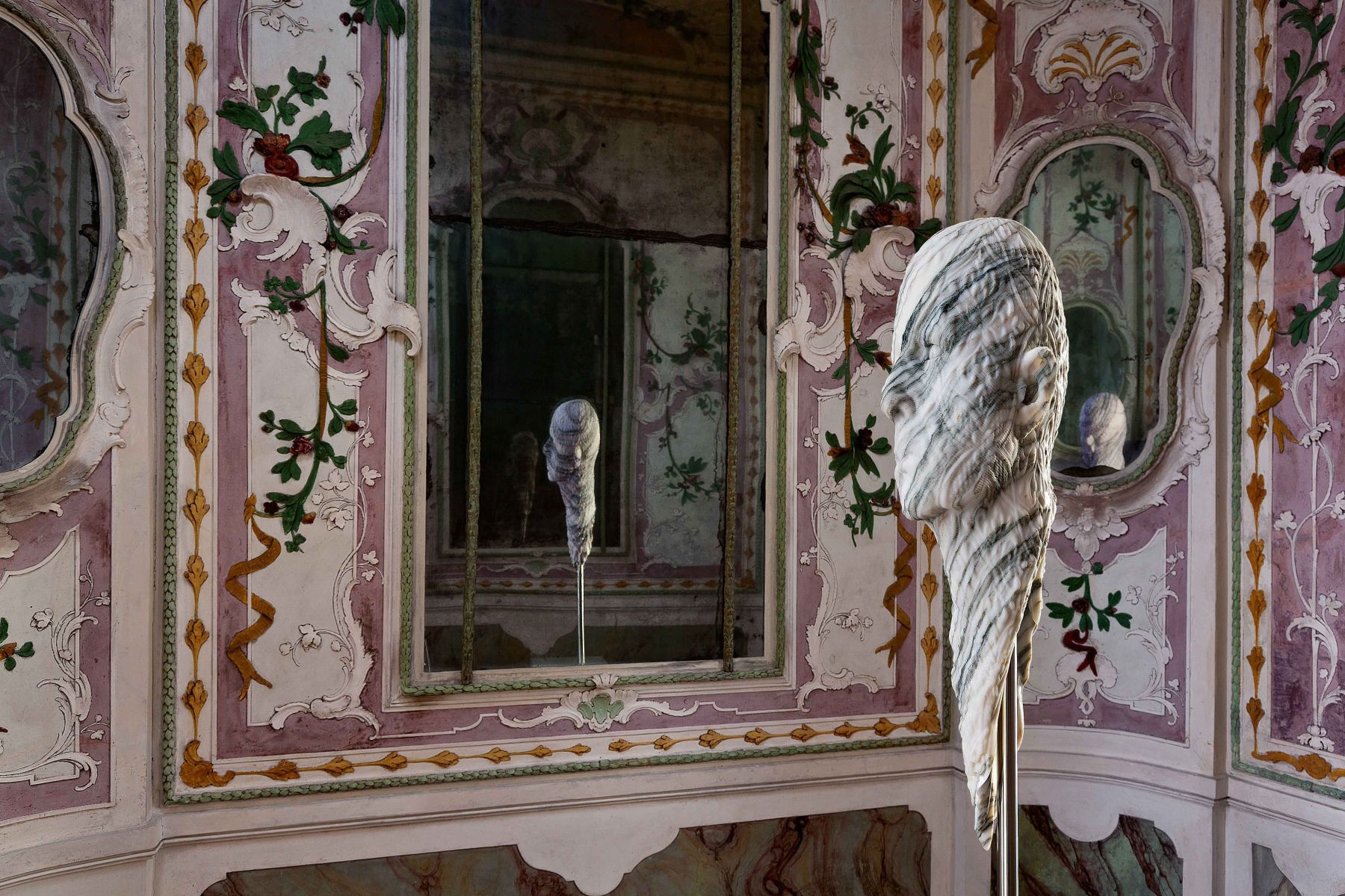"""BARRY X BALL_Stretched Portrait of Jon Kessler with """"Baroque"""" Relief in Italian Fantastico Marble_The Stucco Room — Ca' Rezzonico, Venice"""