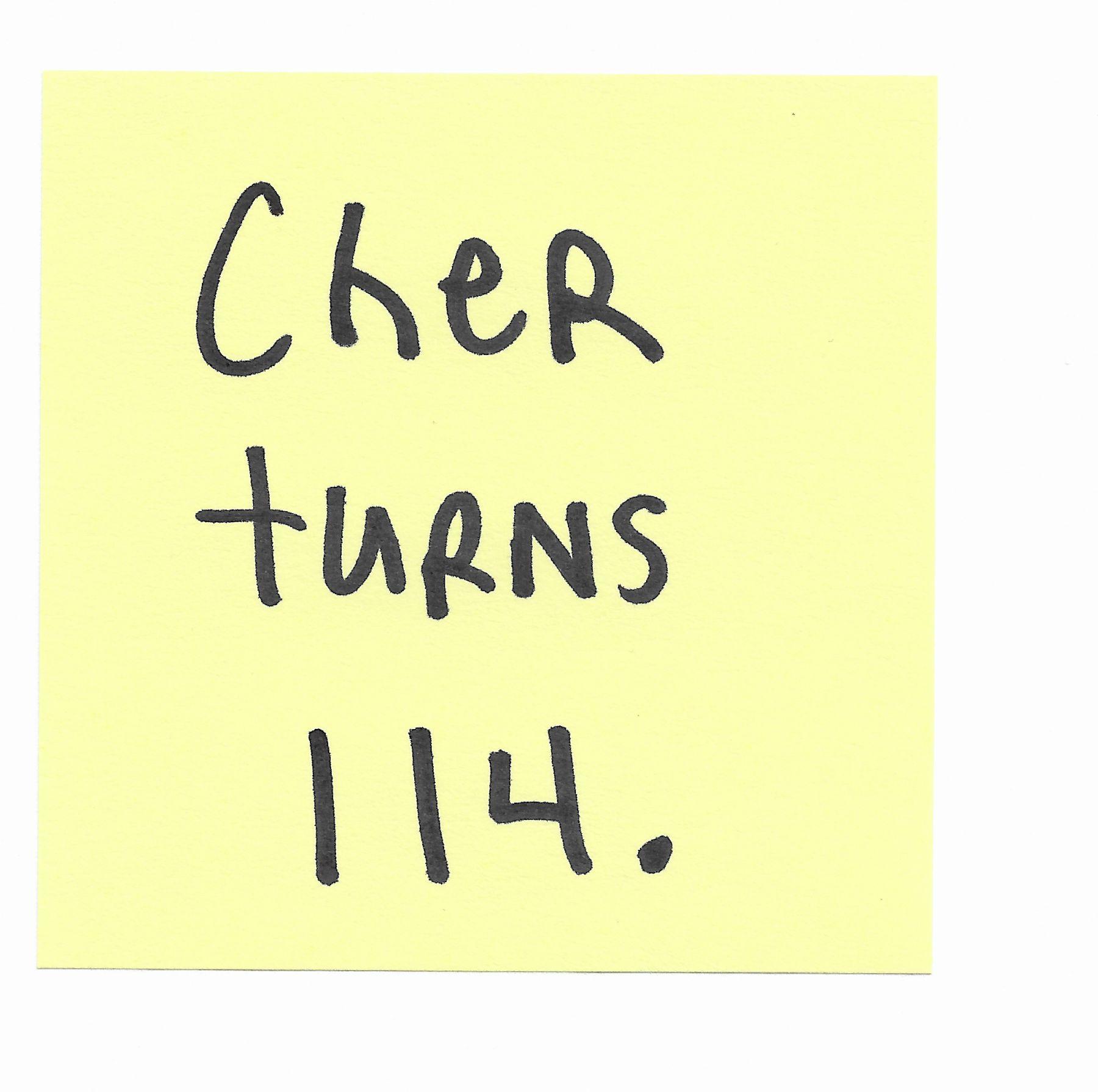 JOE OVELMAN  Post-it Series X (Cher turns 114)