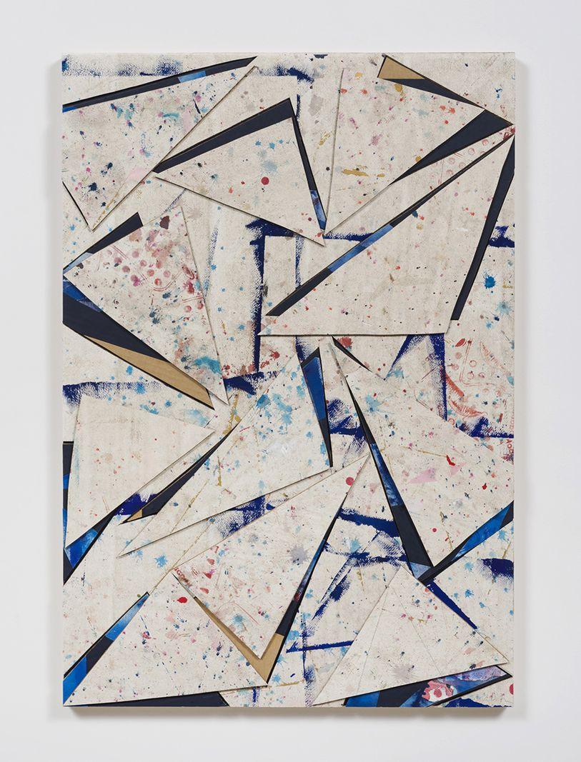 Untitled (crdbrd.wht.flr.ppr.wht.crdbrd.trngls.), 2016, Gouache, acrylic, graphite, glue, paper, cardboard, aluminum and wood panel
