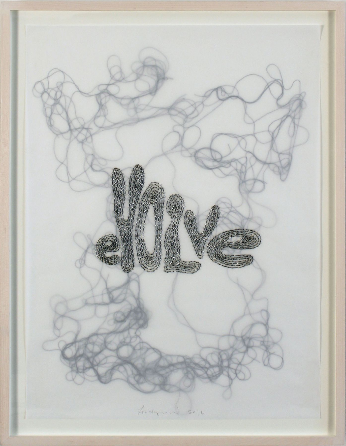 Evolve, 2016, Glass beads and thread on vellum