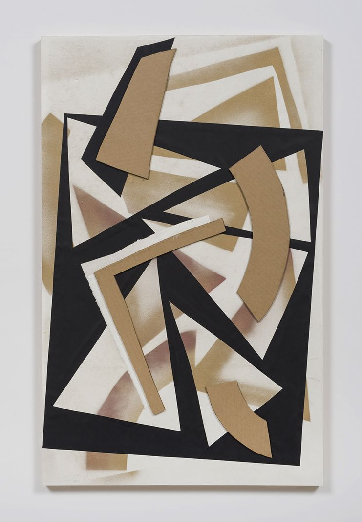 Untitled (gld.spry.blk.ppr.crdbrd.), 2016, Spray paint, graphite, glue, paper, cardboard, aluminum and wood panel