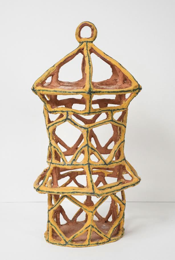 Gold Birdcage with Triangles, 2015, Glazed ceramic