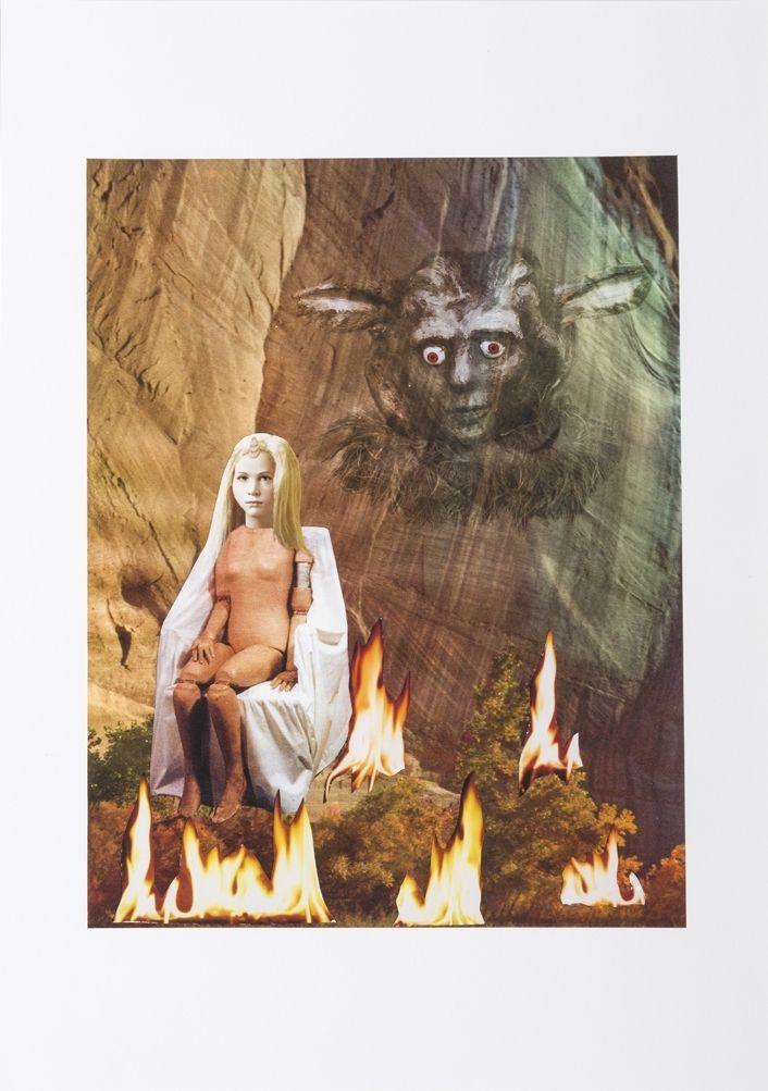Unicorn Girl and the Cave, 2014, Collage on inkjet print