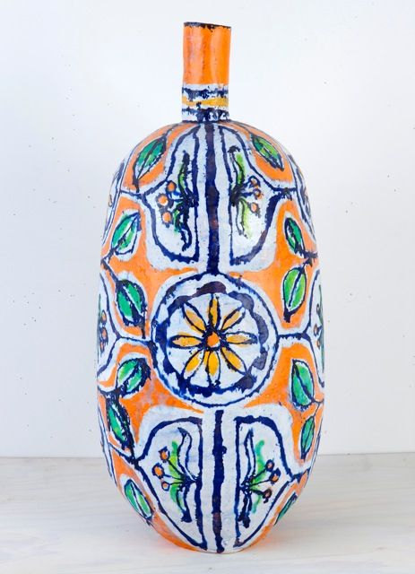 Large Orange & Gold Flower Bottle, 2009, Glazed earthenware