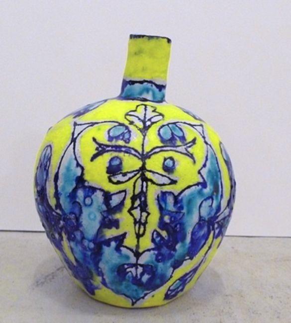 Elisabeth Kley Small Turquoise & Yellow Leaf Face Bottle, 2008