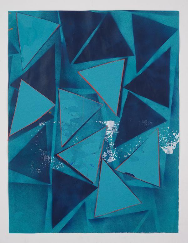 Lecia Dole-Recio, Untitled (bl.ppr.bl.spry.trngls.rd.Ins), 2013