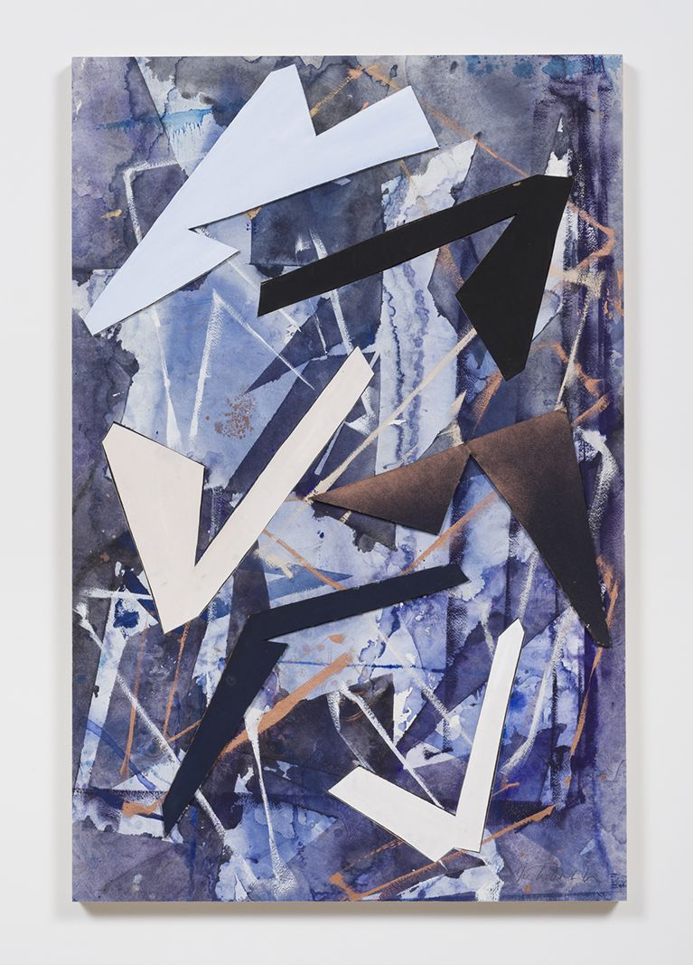 Untitled (drkbl.flr.ppr.crdbrd.shps.), 2016, Gouache, graphite, spray paint, acrylic, glue, paper, cardboard, aluminum and wood panel