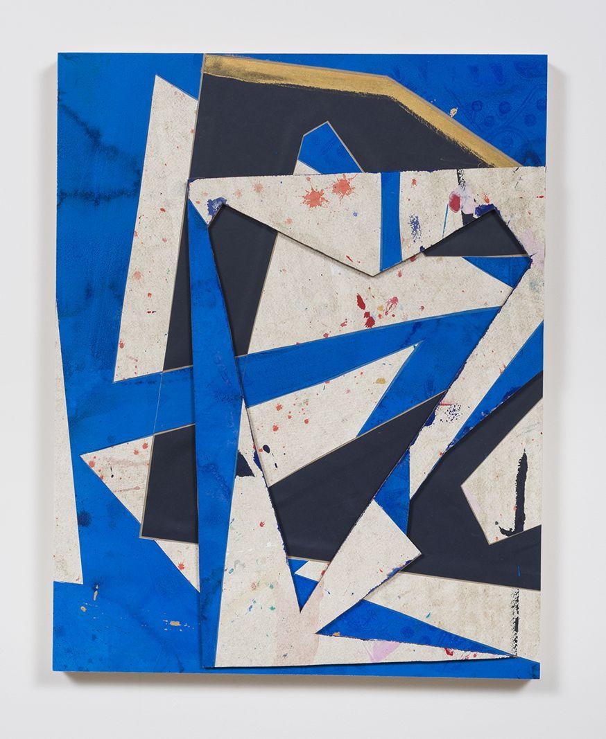 Untitled (bl.wht.flr.ppr.bl.wht.crdbrd.), 2016, Gouache, graphite, glue, paper, cardboard, aluminum and wood panel