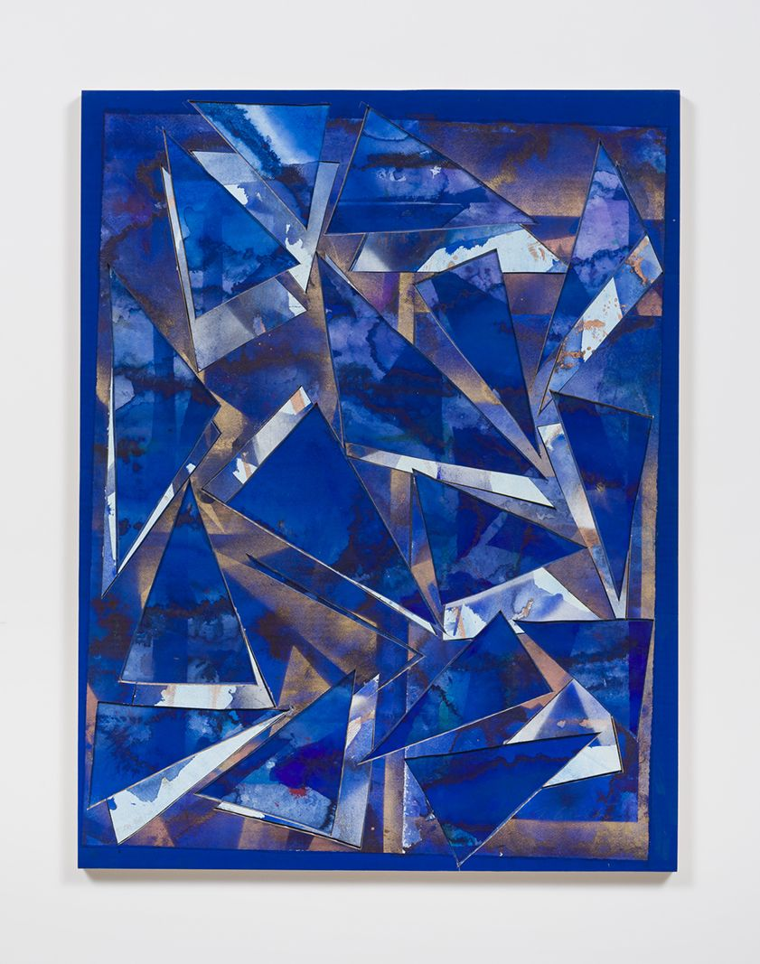 Untitled (bl.ppr.crdbrd.lt.bl.brnz.trngls.), 2016, Gouache, graphite, spray paint, acrylic, glue, paper, cardboard, aluminum and wood panel