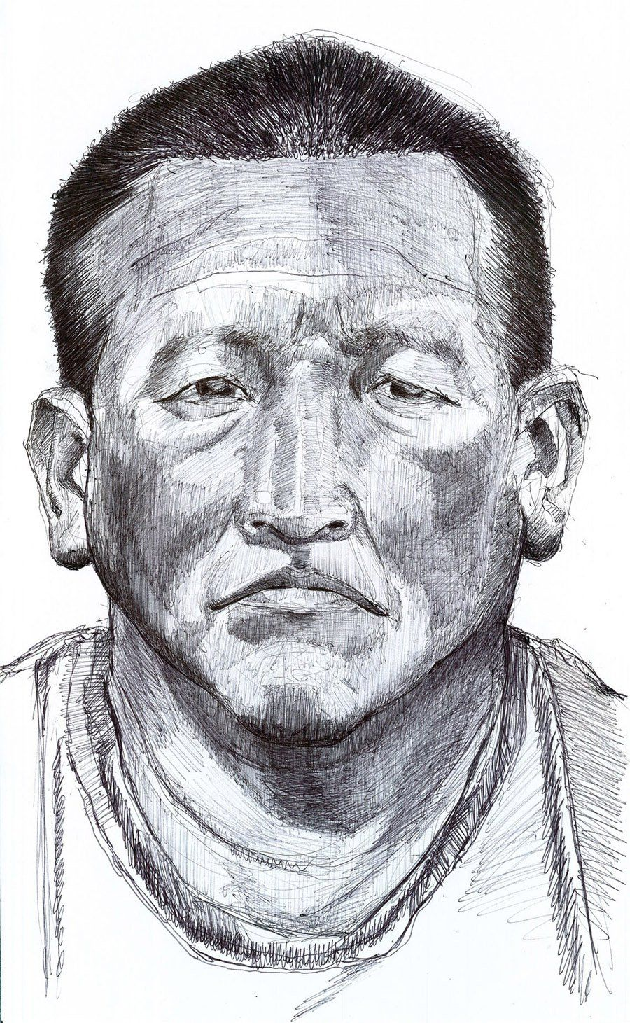 Roberto Guatemala, 2012.Ball point pen on paper. 14 x 18.5 in.