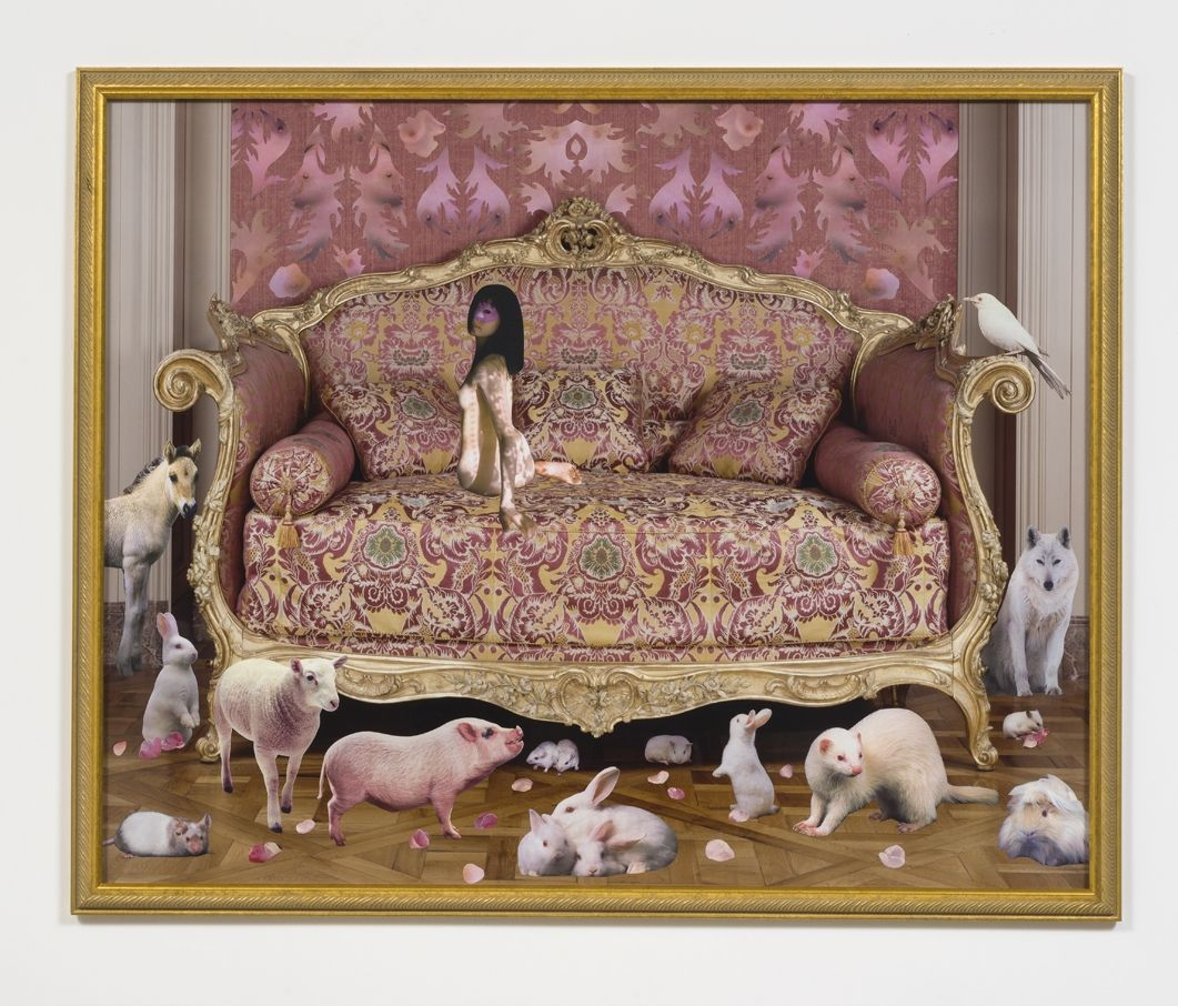 Pink Bed, 2001, Collage on light jet print