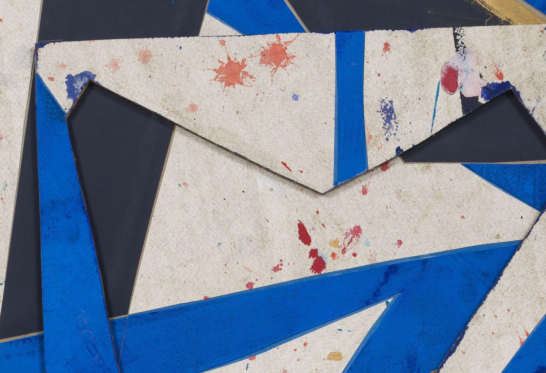 Detail ofUntitled (bl.wht.flr.ppr.bl.wht.crdbrd.), 2016, Gouache, graphite, glue, paper, cardboard, aluminum and wood panel