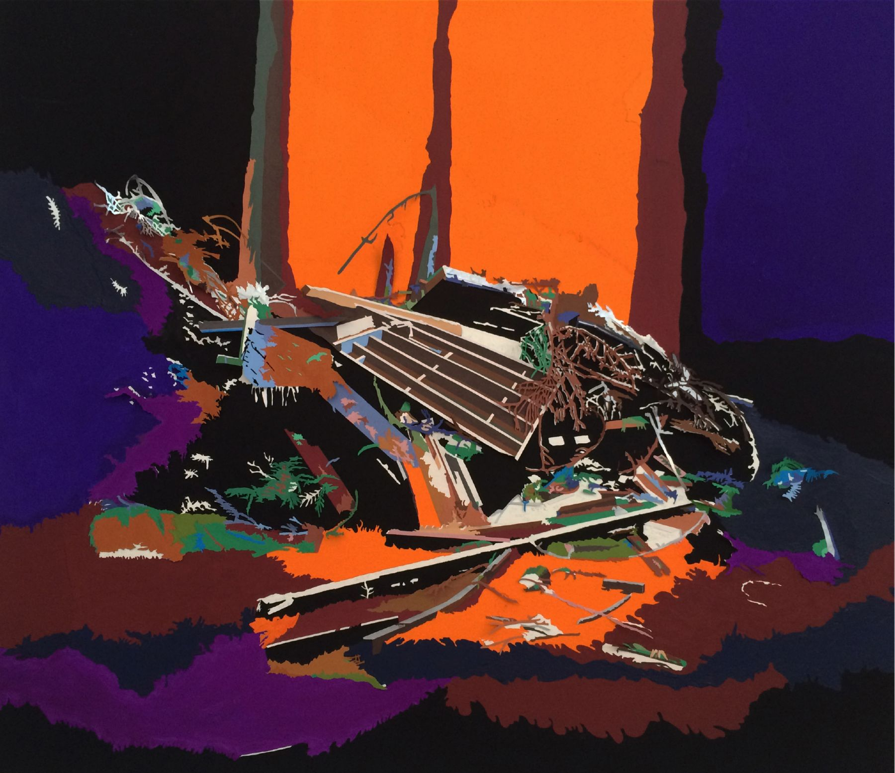Destruction of a radical space (3), 2015, Colored paper, gouache on canvas