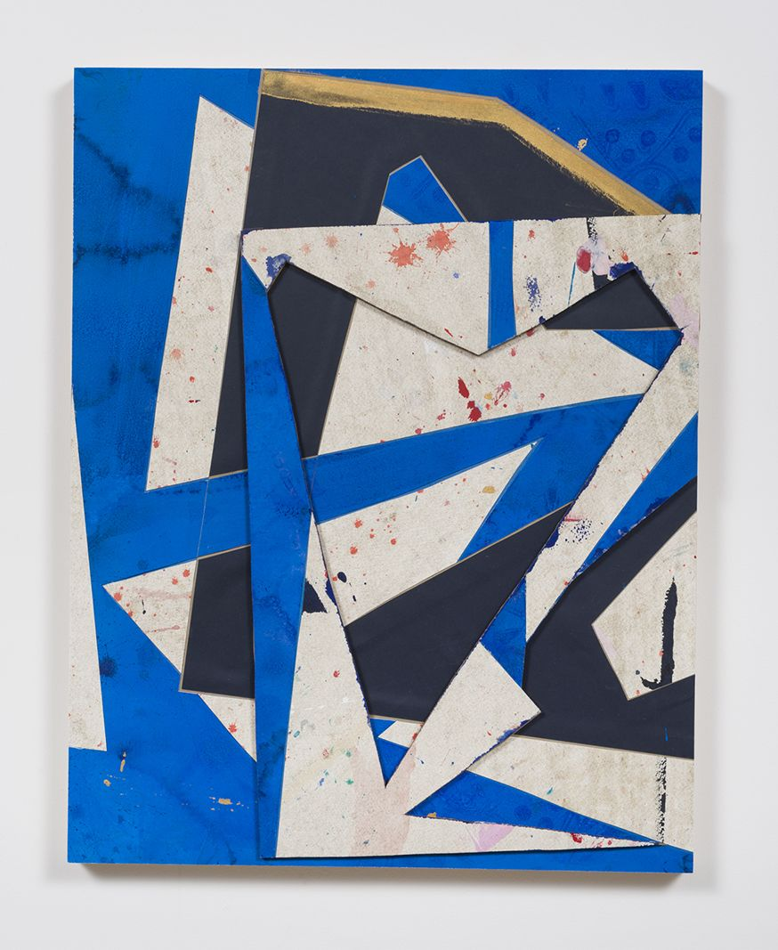 Untitled (bl.wht.flr.ppr.bl.wht.crdbrd.), 2016, Gouache, graphite, glue, paper, cardboard, aluminum and wood panel