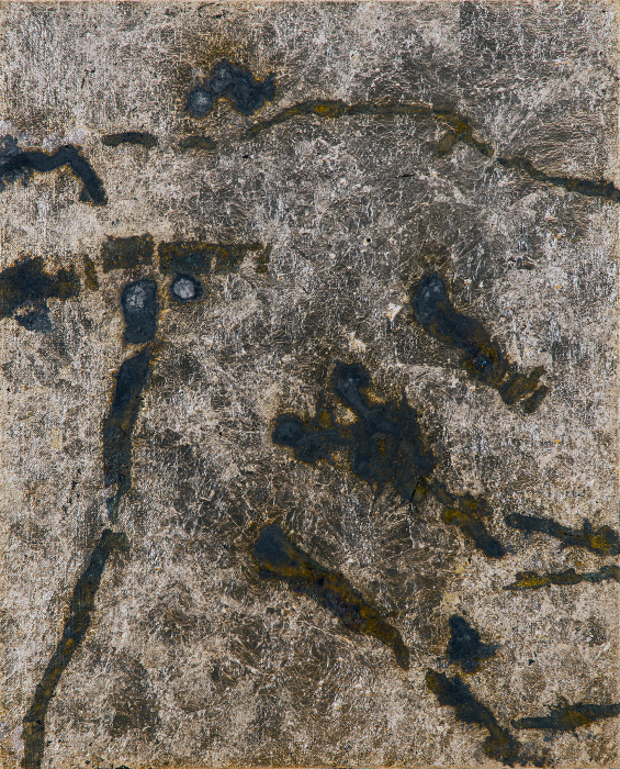 Contingency [Hammer], 2015, Silver, liver of sulfur, varnish, gesso on linen, 17 x 14 in.