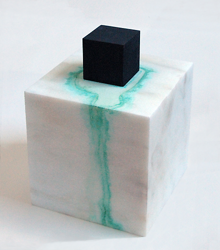 Notation V, 2000, Bronze, Vermont marble, ammonium chloride copper sulfate, 6 x 6 x 6 inches