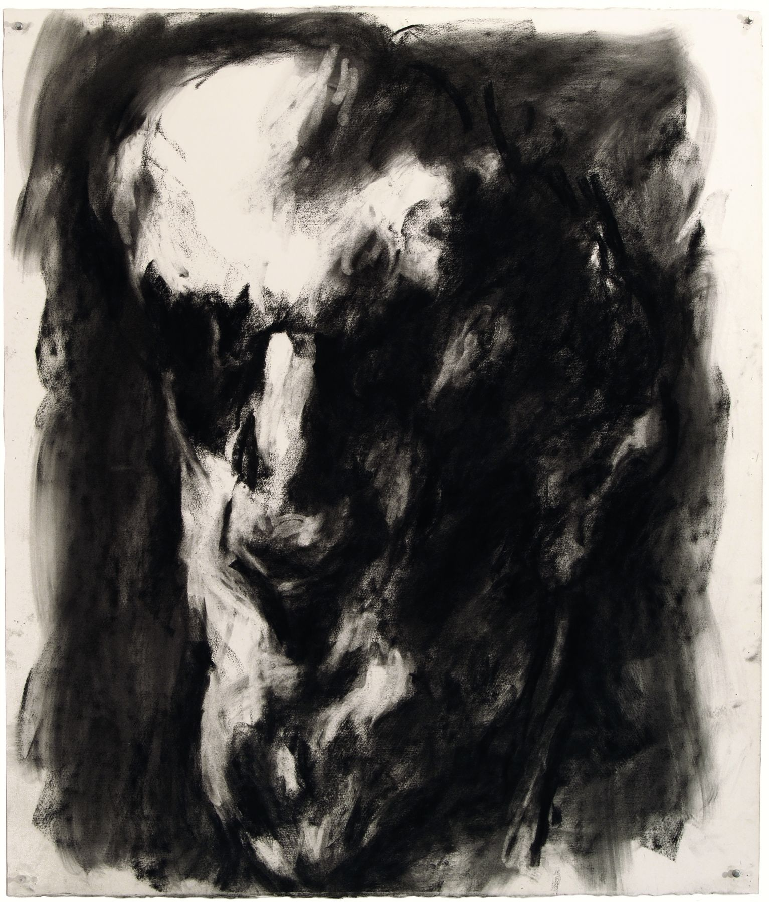 Musician, 1998, charcoal on paper, 42.25 x 36 in.