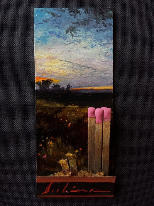 Spring, (Day 110), 2015, oil on matchbook, 3.75 x 1.5 inches