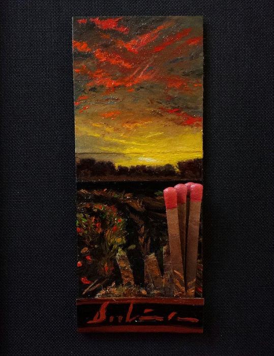 And Then There Was Light (Day 137), 2015, oil on matchbook, 3.75 x 1.5 inches