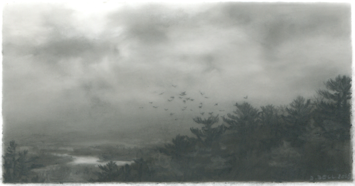 Dozier Bell, Descending, marsh, 2015, charcoal on mylar, 2 5/8 x 5 inches