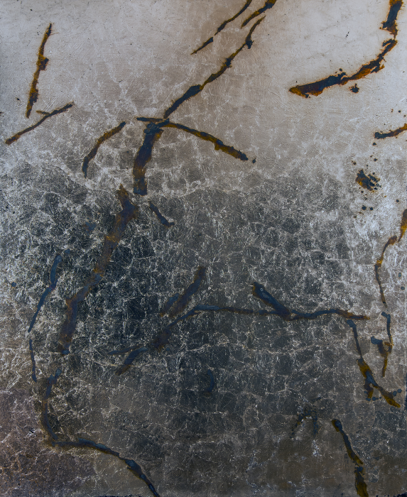 Contingency [Snow Cracks], 2015, Silver, liver of sulfur, varnish, gesso on linen, 82 x 66 in.