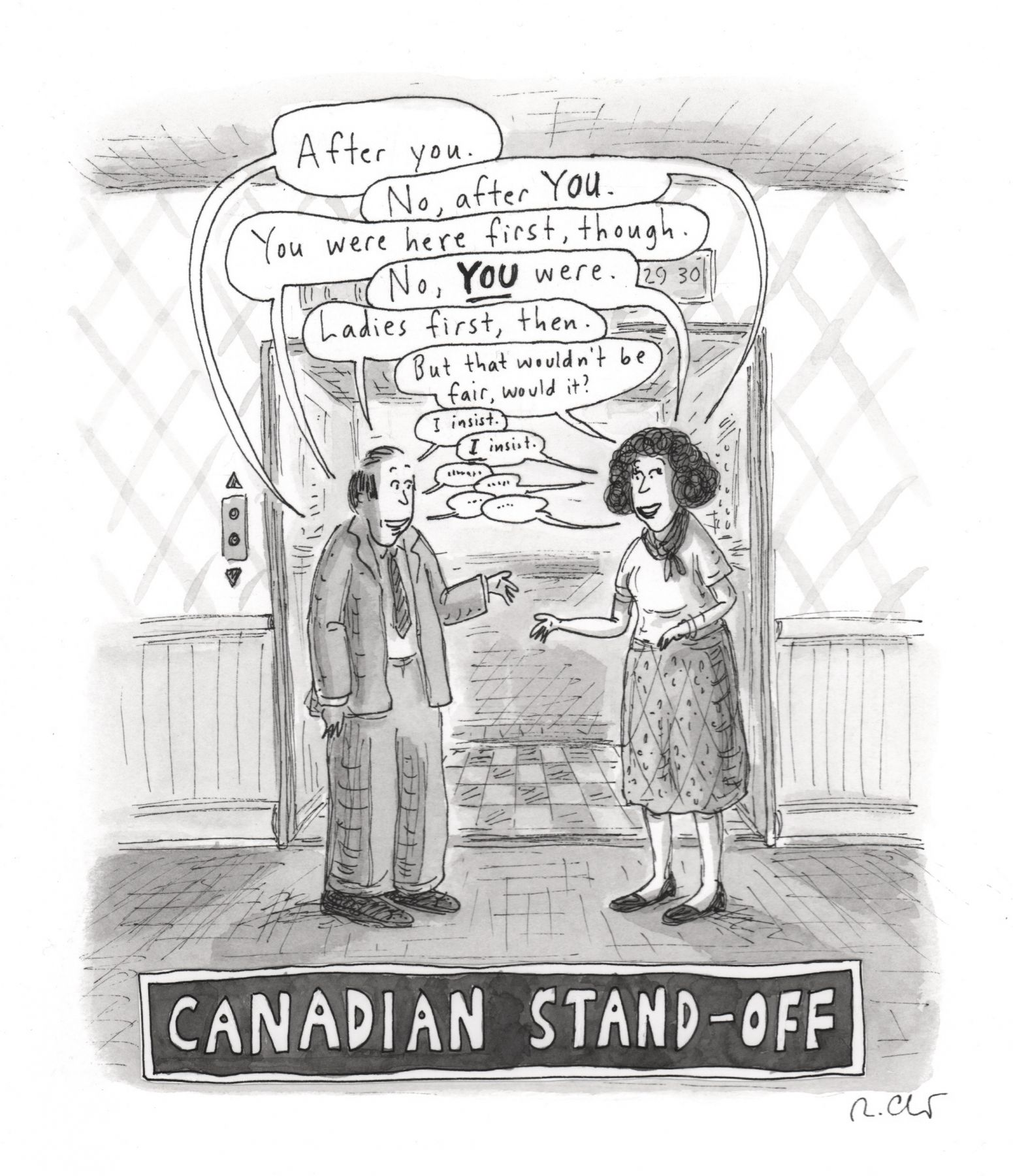 Roz Chast, Canadian Stand-off, published November 26, 2012