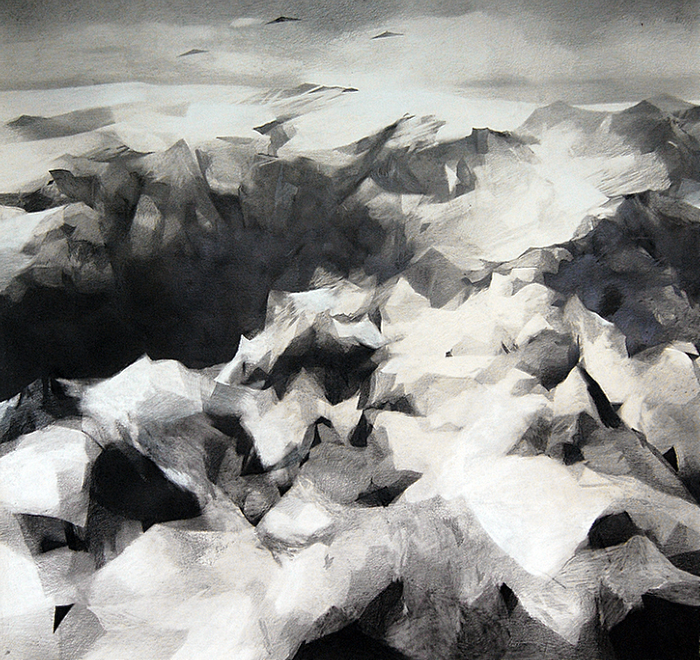 Caleb Nussear, Drones 2, 2013, graphite and chalk on paper mounted on sintra, 52 x 48 inches