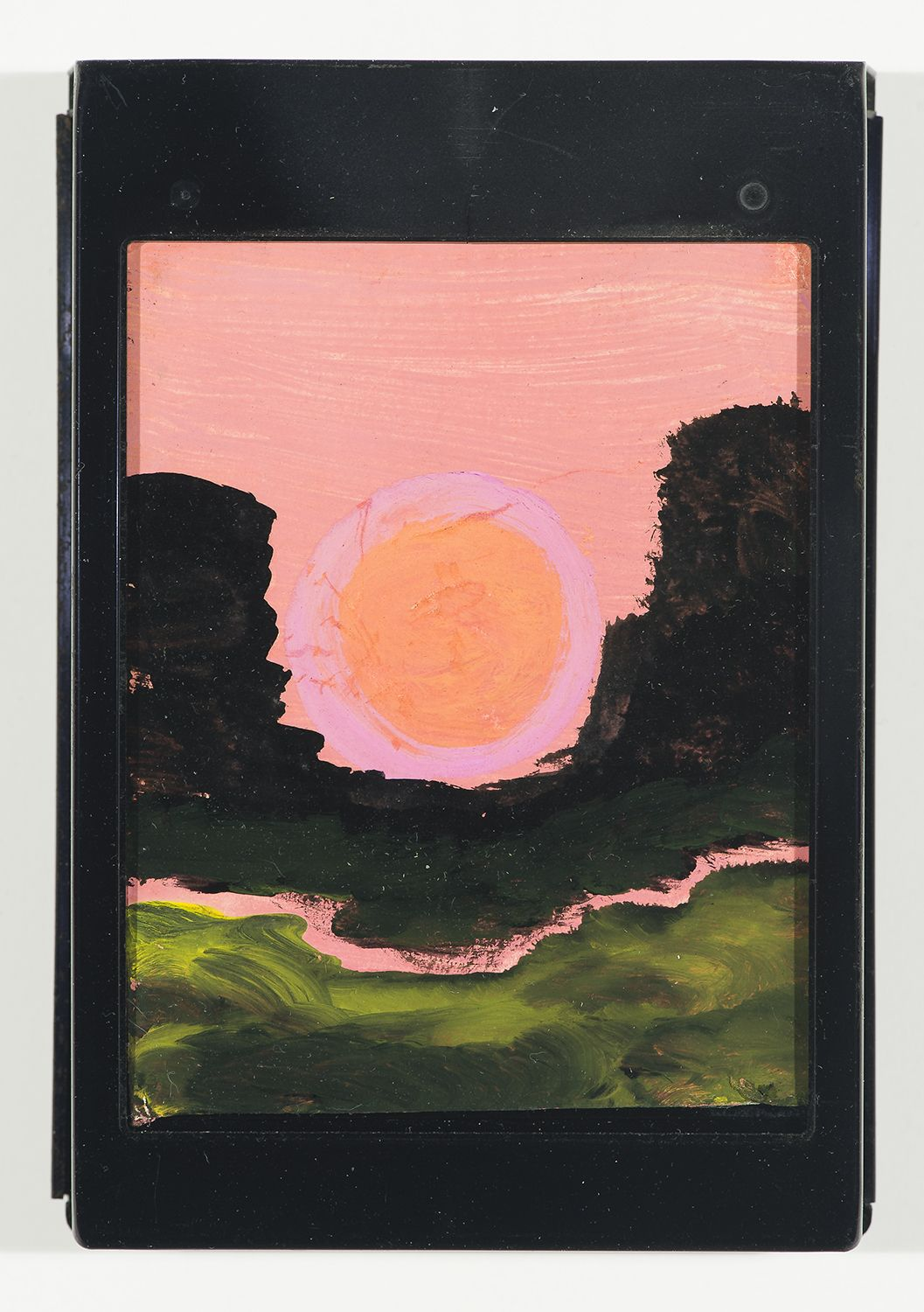 Frank Walter, Landscape, Pink Sky with Sunrise at the Saddle, watercolor and oil on polaroid box cover w/ metal cartridge, 5 1/4 x 3 3/4 inches,