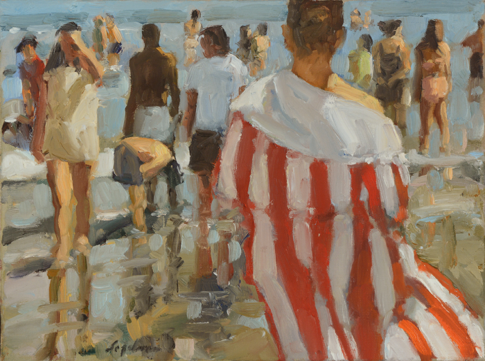 Richard Segalman, Striped Summer Robe, 2010, oil on canvas, 12 x 16 inches