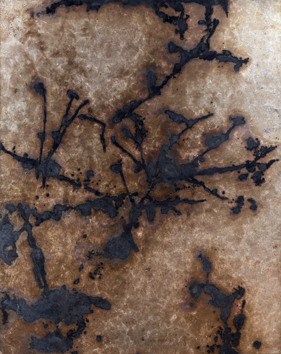 Contingency [Winter Light], 2011, Silver, liver of sulfur, varnish, gesso on linen, 81.5 x 65 in.,
