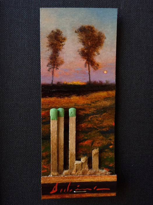 Spring Equinix (Day 80), 2015, oil on matchbook, 3.75 x 1.5 inches