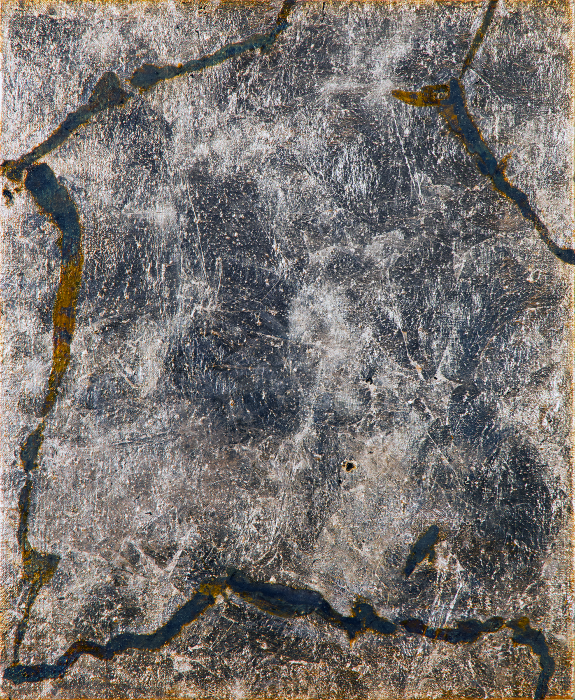 Contingency [Baziotes], 2015, Silver, liver of sulfur, varnish, gesso on linen, 17 x 13 in.