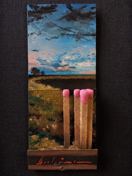 Dawn's Early Light (Day 131), 2015, oil on matchbook, 3.75 x 1.5 inches