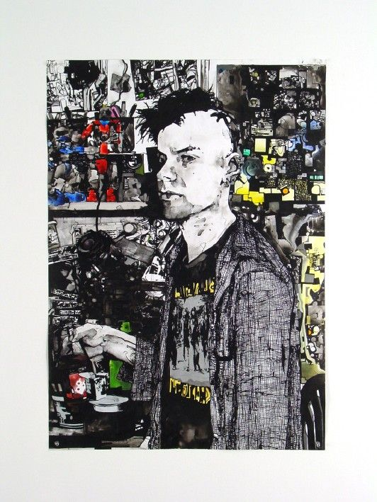 Zak Smith, Self-Portrait with Robots and Art, 2003