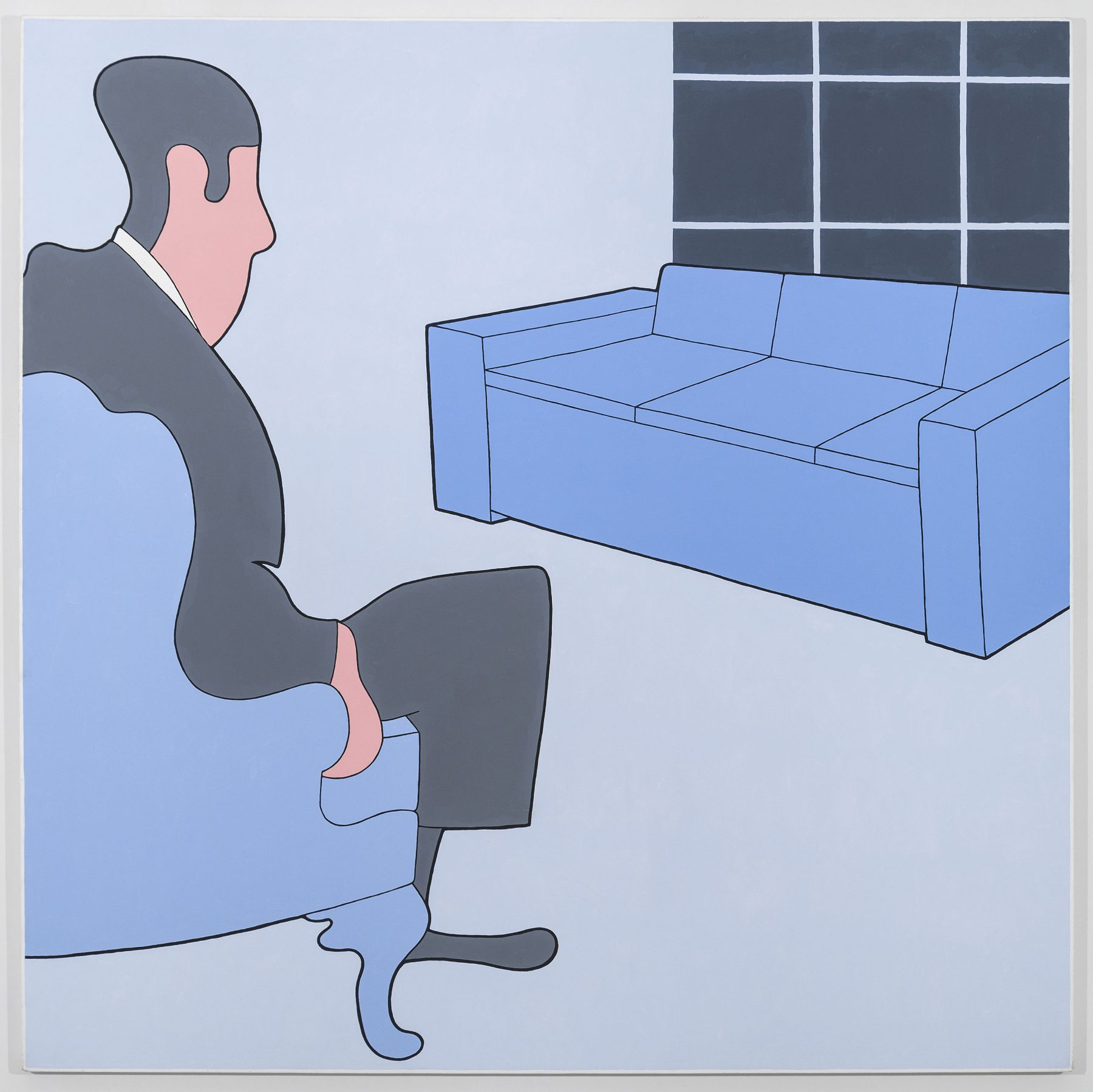 John Wesley, Untitled (Man Regarding Couch), 1987